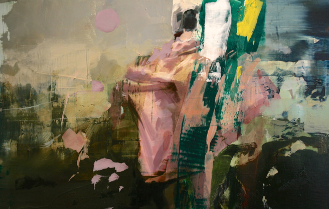 Alex Kanevsky - Two Days and Two Nights on the Farm (detail 1) - 12x71 inches, oil on wood - Unstable Equilibrium - Dolby Chadwick - photo Marie Cameron 2015