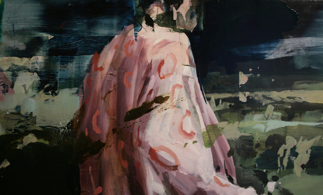 Alex Kanevsky - Two Days and Two Nights on the Farm (detail 2) - 12x71 inches, oil on wood - Unstable Equilibrium - Dolby Chadwick - photo Marie Cameron 2015