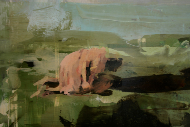Alex Kanevsky - Two Days and Two Nights on the Farm (detail 3) - 12x71 inches, oil on wood - Unstable Equilibrium - Dolby Chadwick - photo Marie Cameron 2015