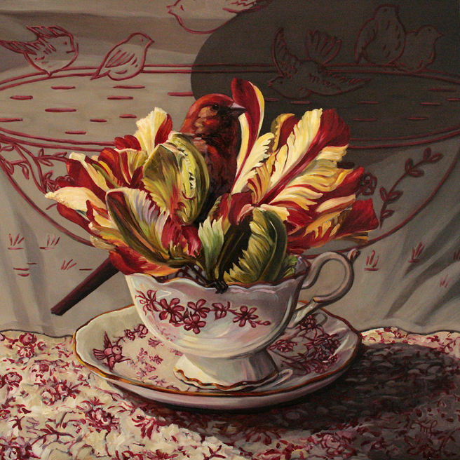 Tulip Tea I  - 12x12 inches - Oil on Board - Marie Cameron - 2015