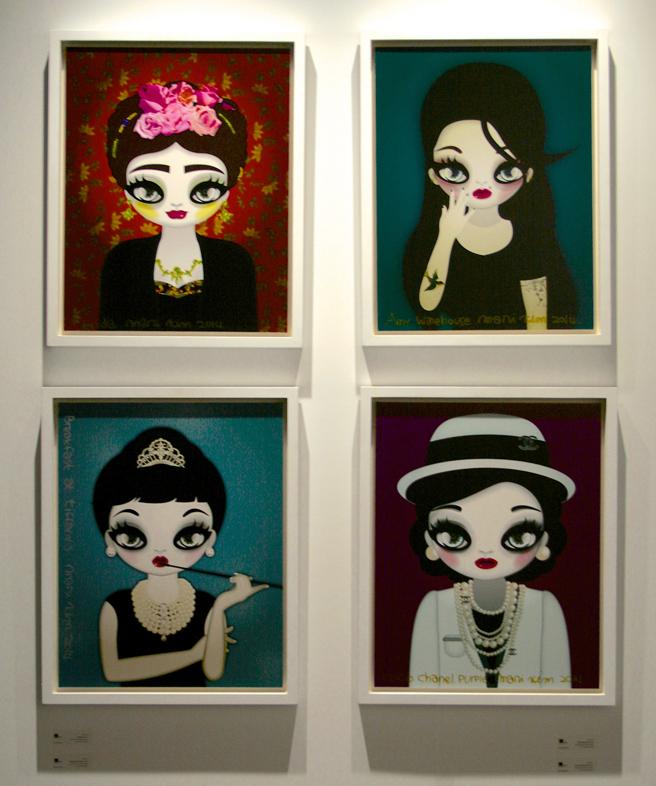 art SV SF - Mari Kim - Frida Red, Breakfast at Tiffnay's, Amy Winehouse, Coco Chanel Purple  Ultra chrome ink printed on canvas - 2014 -Shine Artists London- photo Marie Cameoron 2015