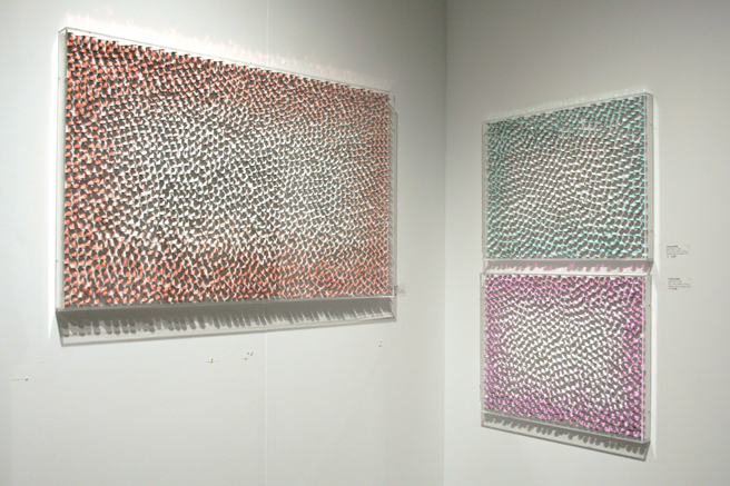 art SV SF - Yong -Rae Kwon - Parma Pink in Light - stainless steel on canvas - Gallery Tableau - photo Marie Cameron 2015