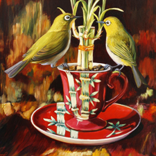 Bamboo Tea I - Oil - 16 x12 inches - Marie Cameron 2015 web sm