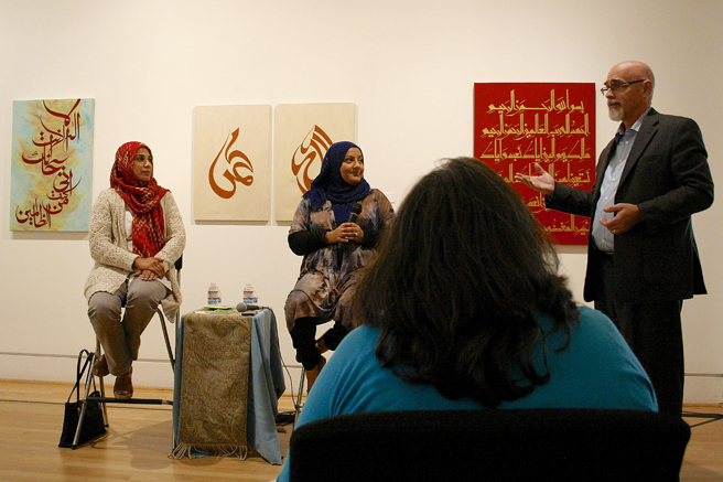Islamic Art - Lunchtime Lecture - Triton Museum of Art -  Nabeela Raza Sajjad, Lubna Achikzai, Preston Metcalf 2- photo Marie Cameron 2015