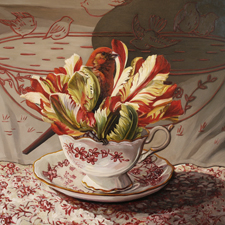 Tulip Tea I - oil on board - 12 x 12 inches - Marie Cameron 2015 web sm