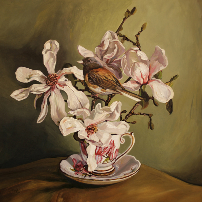 Magnolia Tea I - oil on board - 12x12 inches - Marie Cameron 2016
