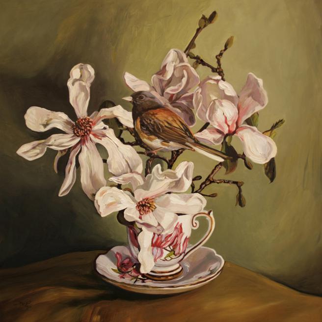 Magnolia Tea I - oil on board - 12x12 inches - Marie Cameron 2016
