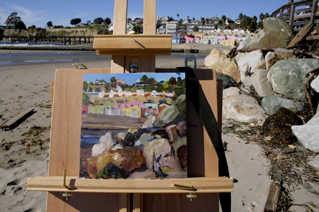 LGAA Plein Air - Capitola - Capitola on the Rocks (WIP) getting there…Marie Cameron 2016
