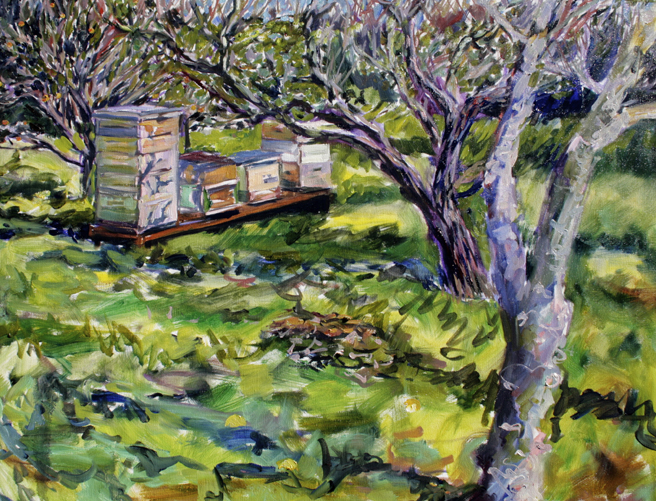 LGAA - Plein Air Painters - Stonesifer -Arzie - Keeping Bees in the Orchard - oil on canvas 16 x12 inches - Marie Cameron 2016