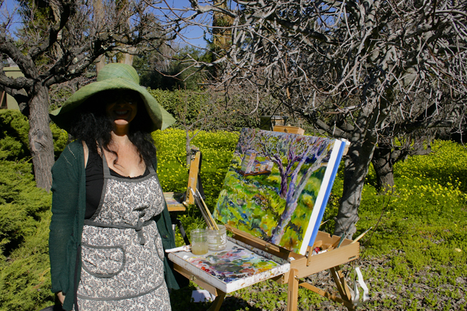 LGAA - Plein Air Painters - Stonesifer -Arzie - Marie Cameron, with hat - photo Nancy Takaichi 2016