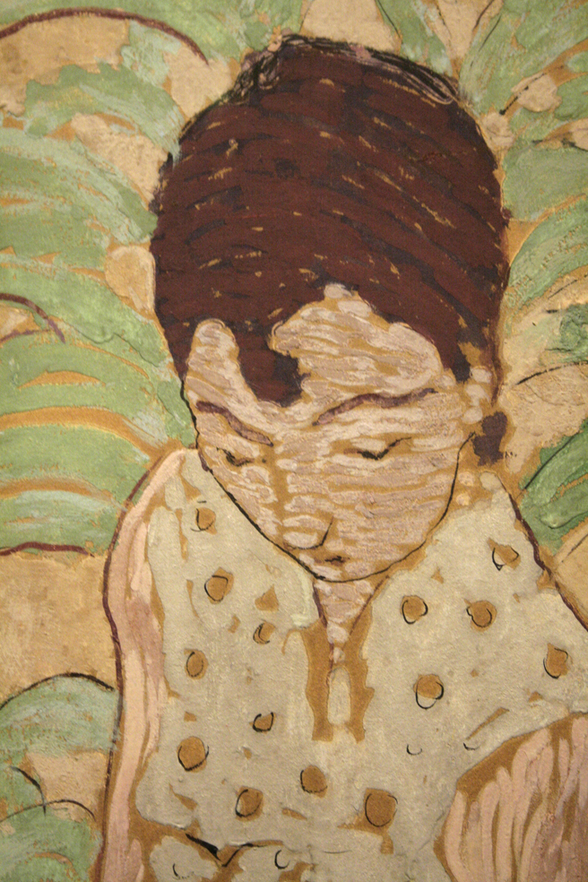 Pierre Bonnard - Seated Woman with Cat (face detail) 1890-91 - distemper on paper mounted on canvas - Legion of Honor - photo Marie Cameron 2016