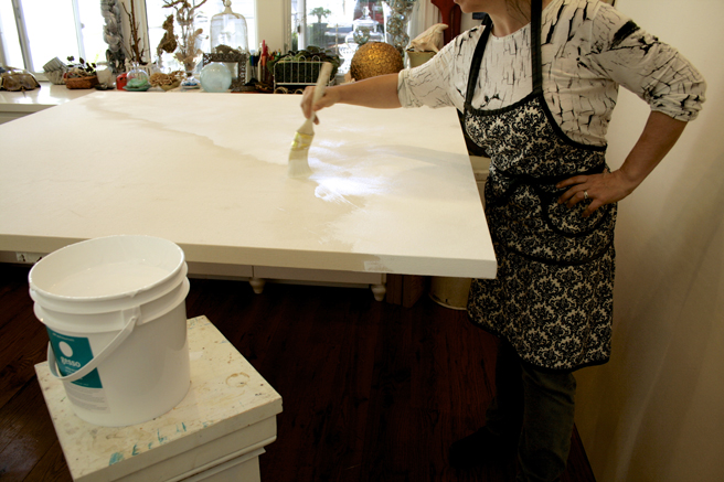 Preparing the canvases in the studio  4- Marie cameron 2015