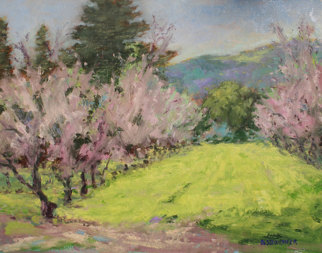 David Stonesifer - Navakavich Orchard, Saratoga, Feb 6, 2013 - oil on board - photo Marie Cameron