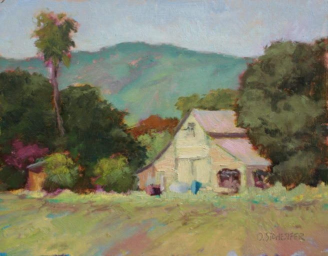 David Stonesifer - Saratoga Barn, June 15, 2012 LG Plein Air Event - oil on board - photo Marie Cameron
