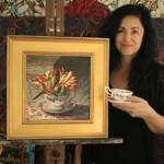 Marie Cameron in teacup skirt with Tulip Tea I - Marie Cameron Studio - 2016 web sm