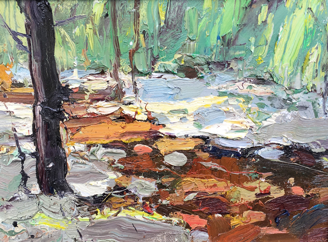 Anton Pavlevnko - Trickling Creek - Oil - Honorable Mention- Los Gatos Plein Air Art Show and Sale - photo Marie Cameron - 2016