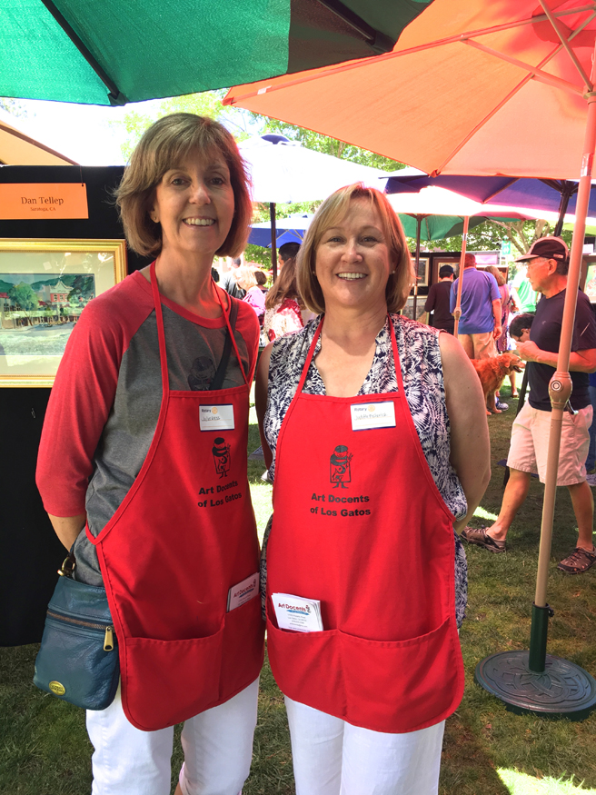 Art Docent Volunteers, Julia and Judith - Los Gatos Plein Air Art Show and Sale - photo Marie Cameron - 2016