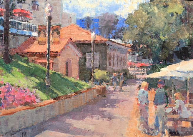 John Guernsey Courtyard at the winery -Oil -Second Place - Los Gatos Plein Air Art Show and Sale - photo Marie Cameron - 2016