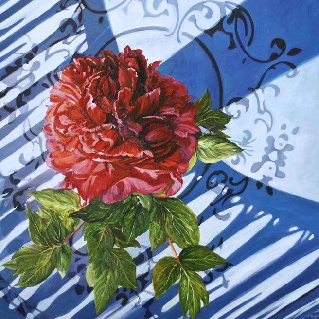 Marie Cameron - Mr. Katayama's Peony - oil on canvas 24 x 24 inches - 2016