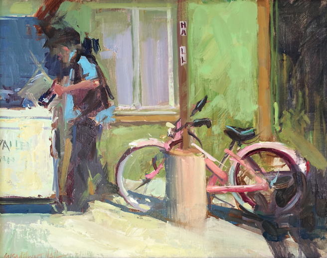 Susan Elwart Hall - Pink Buzz- Oil - honorable mention - Los Gatos Plein Air Art Show and Sale - photo Marie Cameron - 2016