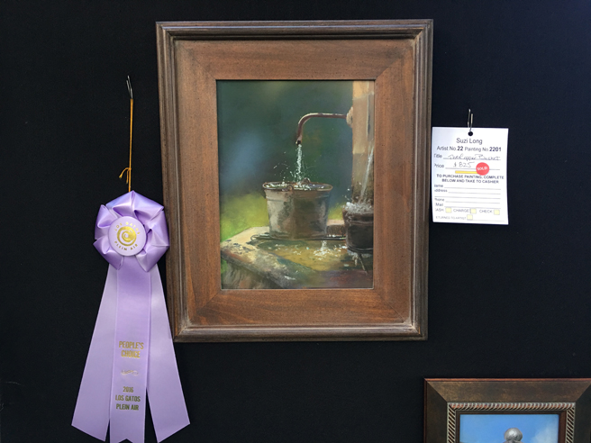 Suzy Long - The Copper Bucket - Peoples Choice Award- Los Gatos Plein Air Art Show and Sale - photo Marie Cameron - 2016