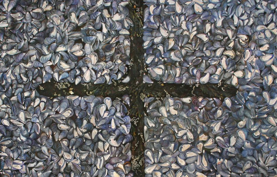 Memento Mori - Marie Cameron - 1999 - 64x64in - oil slide detail