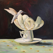 Magnolia Tea II - 12 x 12 inches - oil on board - Marie Cameron 2016 web sm