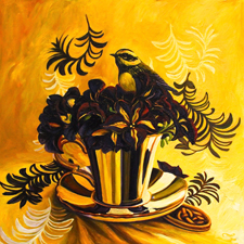 Petunia Tea 1 - 12 x 12 inches - oil on board - Marie Cameron 2016 web sm