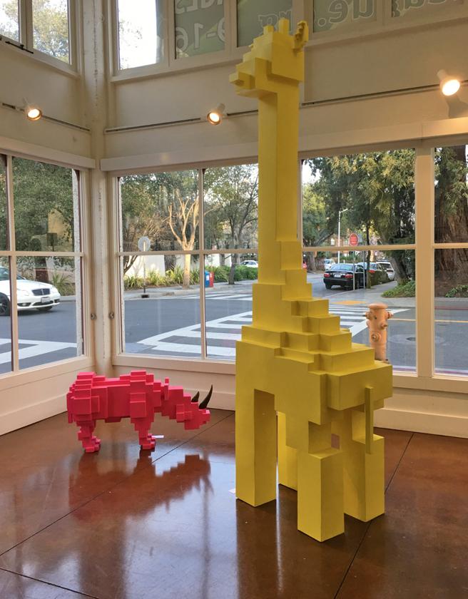 Jihoon Choi - Pink Rhino, Yellow Giraffe - Steel and Paint Pacific Art League- photo Marie Cameron - 2017