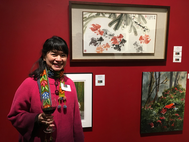 May Shei - Joyful Moment - Watercolor on Rice Paper- Fur Feathers and Fins - Pacific Art League - photo Marie Cameron 2017