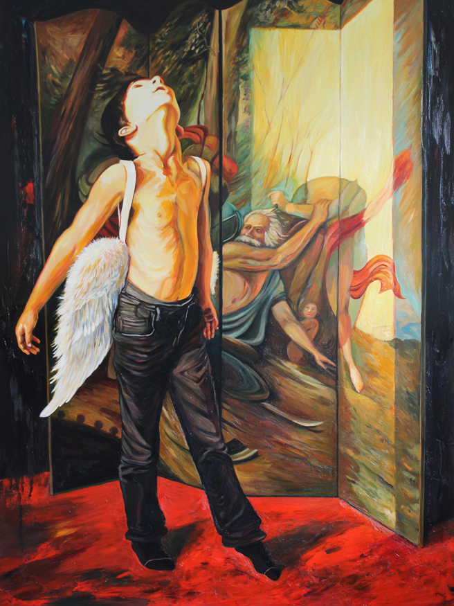 Icarus - Marie Cameron - oil on cradled panel - 40x30in - 2017 web