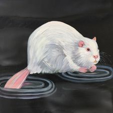Fade to White - Beaver - oil and encaustic on panel - 6x6 in - Marie Cameron - 2017 sm