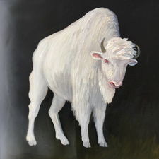 Fade to White - Bison - oil and encaustic on panel - 6x6 in - Marie Cameron - 2017 sm