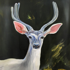 Fade to White - Buck - oil and encaustic on panel - 6x6 in - Marie Cameron- 2017 sm
