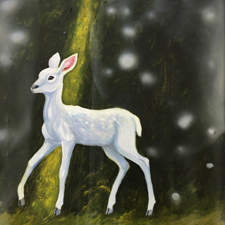 Fade to White - Fawn- oil and encaustic on panel - 6x6 in - Marie Cameron- 2017 sm