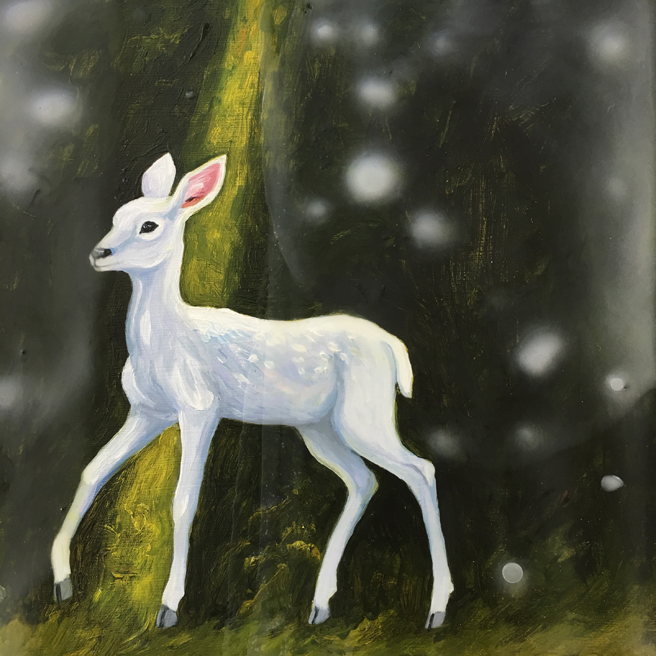 Fade to White - Fawn- oil and encaustic on panel - 6x6 in - Marie Cameron- 2017