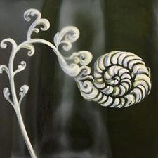 Fade to White - Fiddlehead - oil and encaustic on panel - 6x6 in - Marie Cameron - 2017 sm