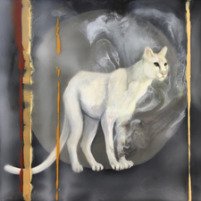 Fade to White - Mountain Lion- oil and encaustic on panel - 6x6 in - Marie Cameron- 2017 sm
