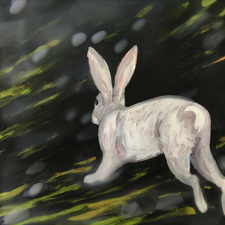 Fade to White - Rabbit - oil and encaustic on panel - 6x6 in - Marie Cameron - 2017 sm