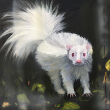 Fade to White - Skunk - oil and encaustic on panel - 6x6 in - Marie Cameron - 2017 sm