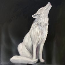 Fade to White - Wolf - oil and encaustic on panel - 6x6 in - Marie Cameron- 2017 sm