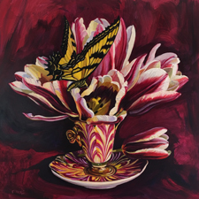 Tulip Tea II - Marie Cameron - Oil on Panel - 12x12 in - 2017 sm