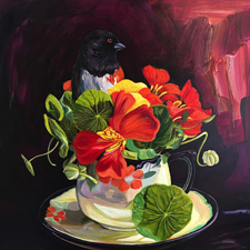 Nasturtium Tea I - oil on panel - 12x12in - Marie Cameron 2017 -web sm