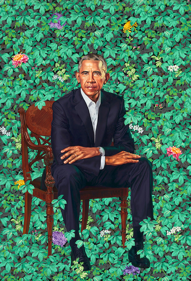 President Barack Obama by Kehinde Wiley - oil on canvas 2018