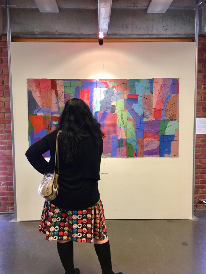 Me with Betty Friedman's Untitled (triptych) 196, 2010 - Intaglio, chine colle, printed on handmade paper - Outside the Frame - Numu - 2018