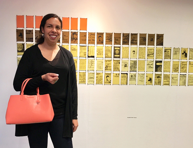 Michelle Murillo with DNA MAP -For a Shifting Identity - 2015 - Fused Glass Screen Print - Outside the Frame - NUMU - photo Marie Cameron - 2018