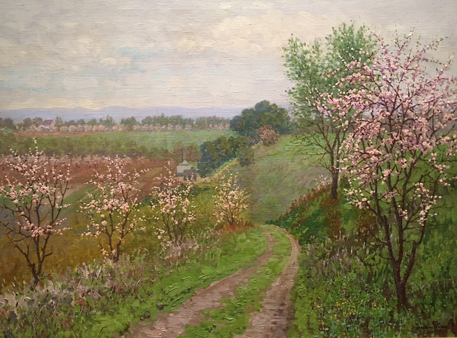 Theodore Wores - Under the California Sun - Triton Museum of Art - photo by Marie Cameron 2018 - Road with Blossoming Trees - 1922 - oil on canvas