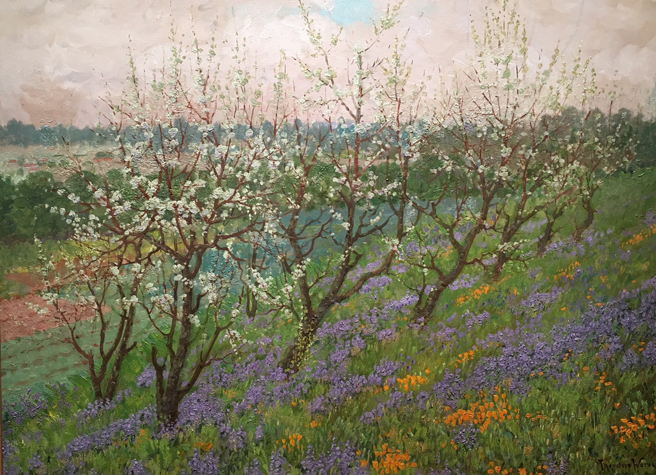 Theodore Wores - Under the California Sun - Triton Museum of Art - photo by Marie Cameron 2018 - Spring Blossoms of California - Los Gatos - 1919 - oil on canvas