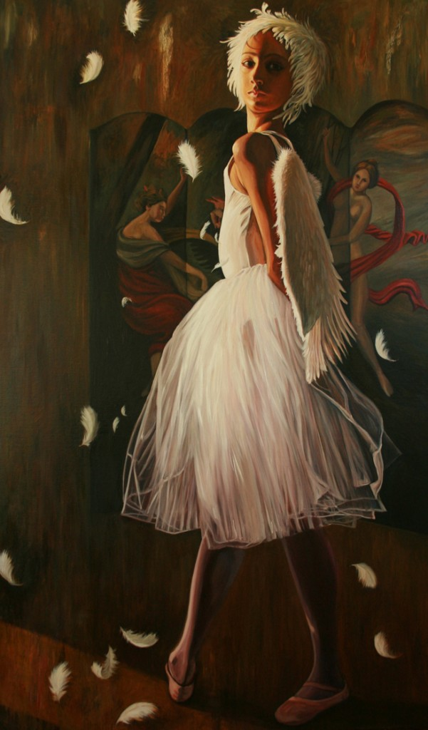 Feathers - Marie Cameron - oil on canvas - 60x36in - 2013 web