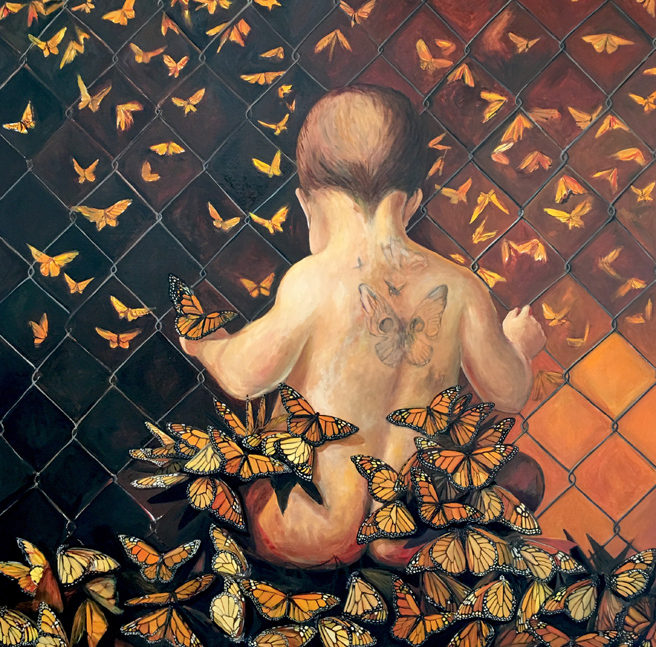 La Mariposa WIP - oil on canvas, 48 x 48 in - Marie Cameron 2108